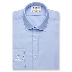 T.M.Lewin - Fitted plain blue luxury twill button cuff regular sleeve length shirt