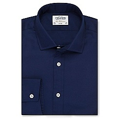 T.M.Lewin - Fitted dark navy twill button cuff regular sleeve length shirt