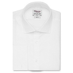 T.M.Lewin - White twill slim fit double cuff regular sleeve length shirt