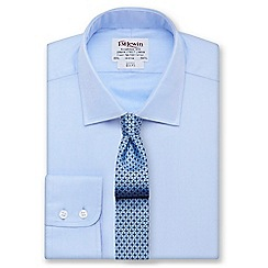 T.M.Lewin - White twill slim fit button cuff regular sleeve length shirt