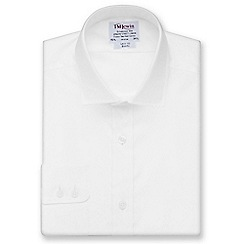 T.M.Lewin - White twill slim fit button cuff long sleeve length shirt