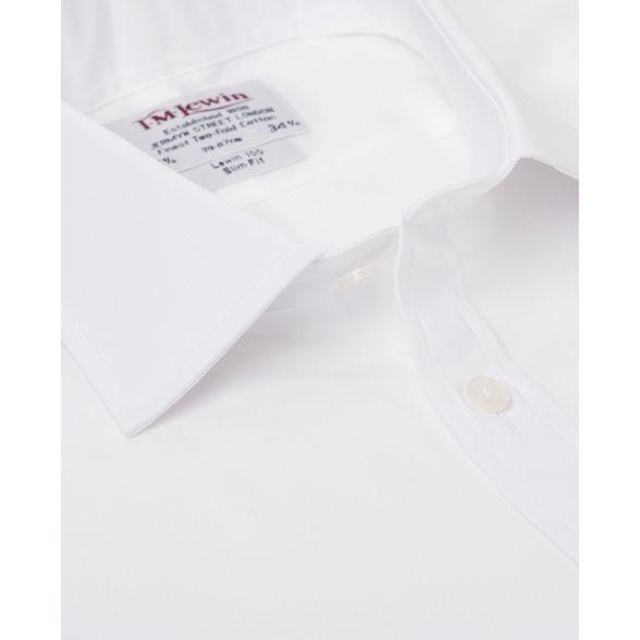 shirt M length double slim Lewin fit White cuff sleeve T regular poplin PqxwHgdxA