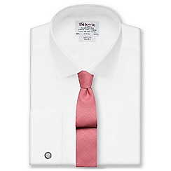 T.M.Lewin - White poplin slim fit double cuff short sleeve length shirt