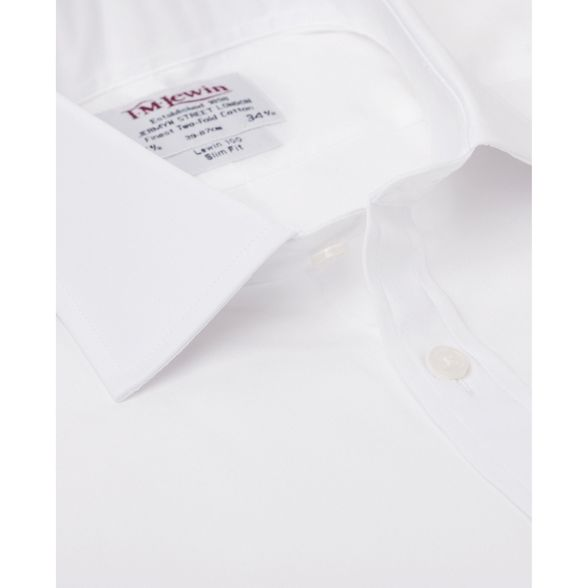 T long sleeve shirt poplin cuff M length slim Lewin White double fit rgrwR41q
