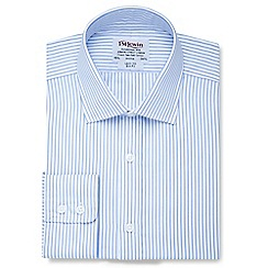 T.M.Lewin - Slim fit light blue stripe poplin button cuff short sleeve length shirt