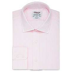 T.M.Lewin - Slim fit light pink stripe poplin regular sleeve length shirt