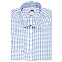 T.M.Lewin - Slim fit blue check twill button cuff long sleeve length shirt