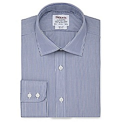 T.M.Lewin - Slim fit navy Bengal stripe regular sleeve length shirt