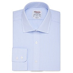 T.M.Lewin - Slim fit light blue Bengal stripe regular sleeve length shirt
