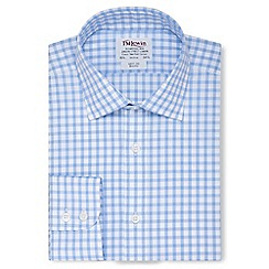 T.M.Lewin - Slim fit blue check poplin button cuff long sleeve length shirt