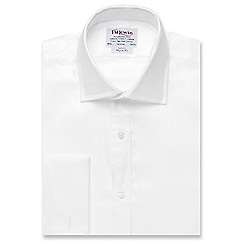 T.M.Lewin - White luxury twill regular fit long sleeve length shirt