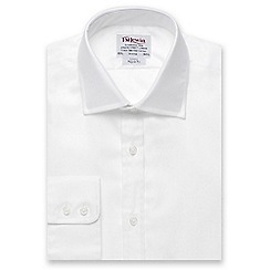 T.M.Lewin - White twill regular fit button cuff regular sleeve length shirt