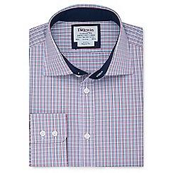 T.M.Lewin - Regular fit navy red multi check short sleeve length shirt