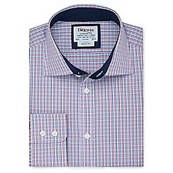 T.M.Lewin - Regular fit navy red multi check long sleeve length shirt