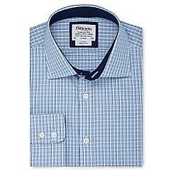 T.M.Lewin - Regular fit blue navy multi check regular sleeve length shirt
