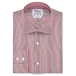 T.M.Lewin - Regular fit red Bengal stripe poplin long sleeve length shirt