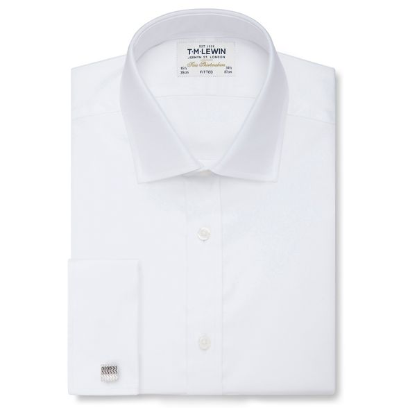 fitted length Lewin sleeve double shirt twill short cuff M White T qPgRcIwP