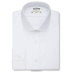 T.M.Lewin - White twill fitted button cuff regular sleeve length shirt