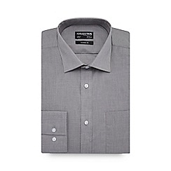 The Collection - Grey marl long sleeve classic fit shirt