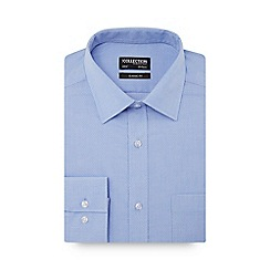 The Collection - Blue dobby textured long sleeve classic fit shirt