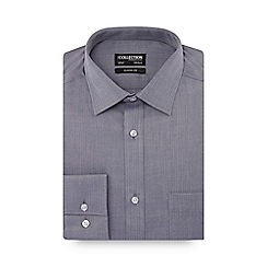 The Collection - Dark grey herringbone long sleeve classic fit shirt