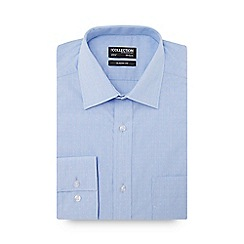 The Collection - Big and tall blue micro gingham check long sleeve classic fit shirt