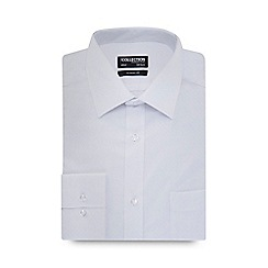 The Collection - Big and tall white dobby check long sleeved regular fit shirt