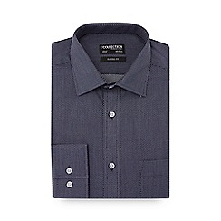 The Collection - Navy rectangle print long sleeve classic fit shirt