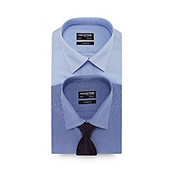 The Collection - 2 pack navy long sleeve classic fit shirt and tie set