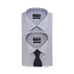 The Collection - 2 pack grey long sleeve classic fit shirt and tie set