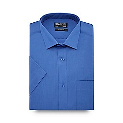 The Collection - Big and tall mid blue easy care short sleeve classic fit shirt