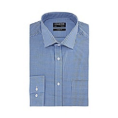 The Collection - Big and tall blue gingham check long sleeve classic fit shirt