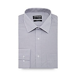 The Collection - Pale grey grid gingham check long sleeve classic fit shirt
