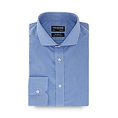 The Collection - Blue gingham print long sleeve non-iron tailored fit shirt