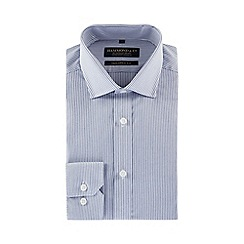 Hammond & Co. by Patrick Grant - Blue grindle stripe long sleeve tailored fit shirt