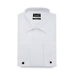 Black Tie - White narrow pleat long sleeve classic fit shirt