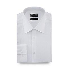 Black Tie - White jacquard long sleeve slim fit shirt