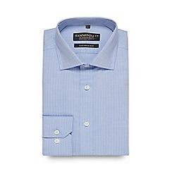 Hammond & Co. by Patrick Grant - Blue herringbone stripe long sleeve tailored fit shirt