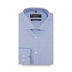 Hammond & Co. by Patrick Grant - Light Blue Herringbone Stripe Long Sleeve Tailored Fit Shirt