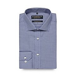 Hammond & Co. by Patrick Grant - Navy dogtooth long sleeve tailored fit shirt