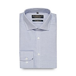 Hammond & Co. by Patrick Grant - Blue dobby long sleeve tailored fit shirt