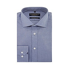 Hammond & Co. by Patrick Grant - Blue diamond print long sleeve tailored fit shirt