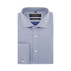 Hammond & Co. by Patrick Grant - Blue herringbone textured spotted long sleeve tailored fit shirt