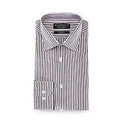 Hammond & Co. by Patrick Grant - Dark red striped long sleeve slim fit shirt