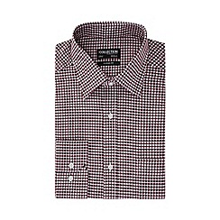 The Collection - Wine red gingham print long sleeve classic fit Oxford shirt