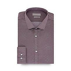 Red Herring - Dark pink tile print long sleeve slim fit shirt
