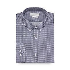 Red Herring - Navy tile print long sleeve slim fit shirt