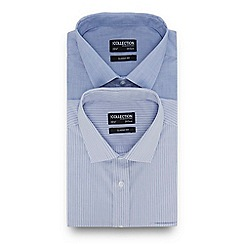 The Collection - 2 Pack Blue Plain and Striped Long Sleeve Regular Fit Shirts