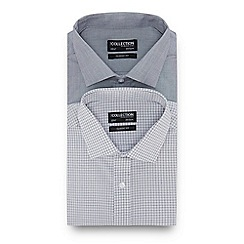 The Collection - 2 Pack Grey Plain and Grid Checked Long Sleeve Regular Fit Shirts