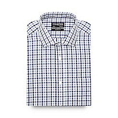 The Collection - Big and tall dark blue checked short sleeve regular fit shirt